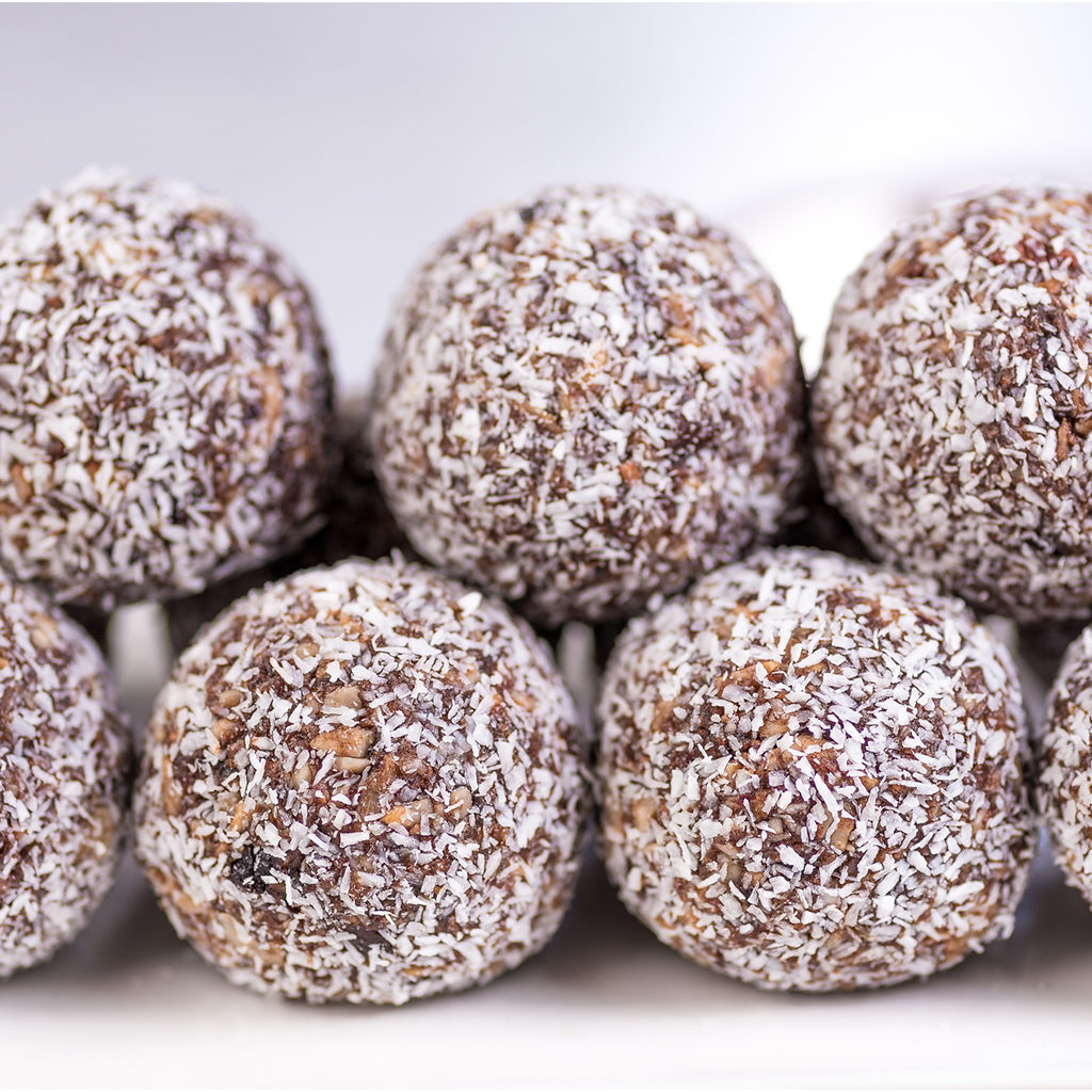 Almond Date Balls with Prickly Pear Fruit Spread